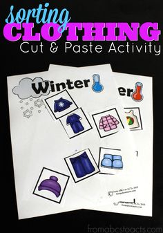 What clothing is appropriate throughout the winter and what can be worn in the summer months? Help your preschooler make that distinction with this fun cut and paste printable clothing sort activity!