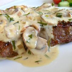 Dragon's Kitchen: Grilled Steak with Mushroom Tarragon Cream Sauce. Grilled steak with a Mushroom Tarragon Cream sauce served with my herb-roasted potatoes and a fresh cucumber and tomato salad. It was a wonderful treat. Food Network Recipes, Food Processor Recipes, Cooking Recipes, The Kitchen Food Network, Herb Roasted Potatoes, Cream Sauce Recipes, Greek Cooking, Happy Foods, Greek Recipes