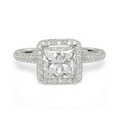 1.68ct F VS2 PRINCESS CUT DIAMOND ENGAGEMENT RING 18K WHITE GOLD
