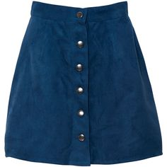 Ellie A Line Skirt in Suede Feel Dark Royal Blue by Motel (200 ARS) ❤ liked on Polyvore featuring skirts, bottoms, faldas, royal blue skirt, basic tee shirts, a-line skirt, button down skirt and basic t shirt