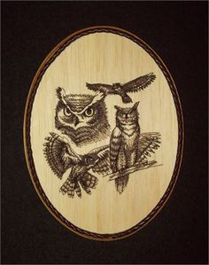 This unique Great Horned Owl Embroidery Balsa Wood Art combines the warmth of wood with the raised texture of three different shades of brown thread and 23,849 stitches. The design was machine embroidered into a sheet of balsa wood, then cut and mounted on an oak stained 7 x 9 x 1 plaque. The brown leather braided trim was added before a clear protective, non-yellowing acrylic matte finish was applied. A brass hanger is attached to the backside making it ready for hanging.    Balsa Wood…
