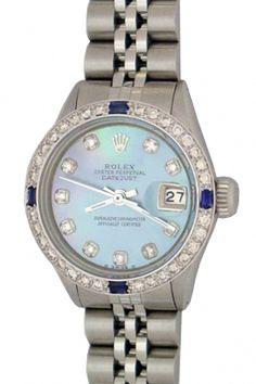 Women vintage Rolex ,datejust, Model 6917. 14k white gold diamond and Sapphire bezel $ 3,490