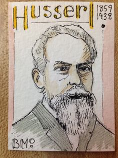 Edmund Husserl, watercolor, by BMo