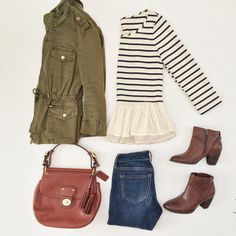 Fall casual outfit, with military style jacket