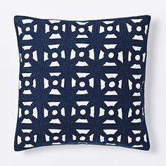 Modern Crewel Lattice Pillow Cover - Nightshade #westelm Living room pillows
