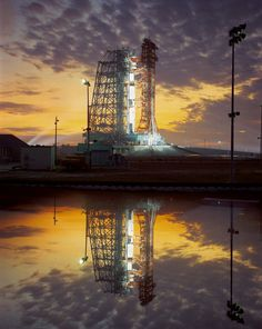 The Apollo 8 rocket on the launch pad at the Kennedy Space Center, 1968. This image seems to have been manipulated in some way. But, what the heck, it's easy on the eyes. (Spacefacts.de)