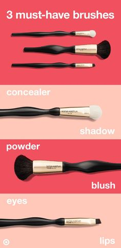 How many makeup brushes do you really need? We've edited it down to 3 Sonia Kashuk must-haves that'll maximize your beauty routine. 1. Use a fluffy dome-shaped brush for eyeshadow or concealer. 2. A powder brush can be used for dusting on blush, bronzer and powder, or blending foundation or BB cream. 3. A small, angled brush works for eyeliner, to shape brows, or even line lips.