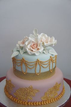 Dainty Vintage Cake ~ all hand gilded and sugar roses ~ all edible