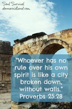 """""""Whoever has no rule over his own spirit is like a city broken down, without walls."""" Proverbs 25.28"""