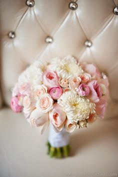 Beautiful Soft Pink + White Wedding Bouquet.