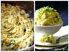 Ingredients:    2 lbs or 3 large potatoes, scrubbed, peeled and diced large  6 cups water (to boil the potatoes)  1 teaspoon salt (to add in boiling water to cook the potatoes)  4 cloves garlic, ends snipped and peeled  1/4 cup extra virgin olive oil  1/2 cup evaporated milk  1/3 cup grated Romano cheese (or can use Parmesan cheese for substitute)  1 teaspoon fresh cracked black pepper  2 tablespoons chopped chives  salt (optional and according to taste)