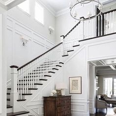 A staircase in your home can be a perfect interior symbol to bring a luxury design style. A big home with a big stair too usually is more recommended to have a luxury style on it. The staircase is als Foyer Staircase, Staircase Design, Staircase Ideas, Luxury Staircase, Stairwell Wall, Entry Foyer, Staircase Landing, Grand Entryway, Entryway Stairs