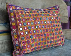 Indian textile cushion by Faerymother