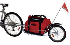 Maya Bicycle Trailer. I just got one of these, it's great! It converts into a wheelbarrow for when you aren't cycling!