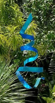 Aqua & Blue Contemporary Metal Sculpture  | beautiful gardens | hand made | modern art | modern | modern architecture | Sculptures | #architecture #metalart https://www.statements2000.com/