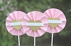 "Pink / Gold ""Bride-To-Be"" Wedding / Bridal Shower rosette style cupcake toppers.  Set of 12, fully assembled and customizable. by CharmingTouchParties on Etsy"