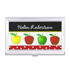 Colorful Apples Teacher's Business Card Case #giftsforteachers #teachersbusinesscardcase