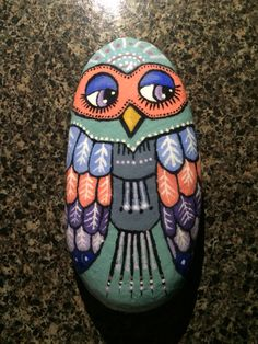 Owl painted rock ~*painted by: Julia Mullen*~