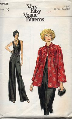 6c0ab92eacf Vogue 9253 1970s Misses Evening Jumpsuit and Jacket womens vintage sewing  pattern by mbchills Jumpsuit Pattern