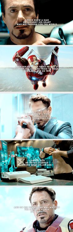 """""""Proof that tony stark has a heart"""" ❤️😭❤️love&miss you. Avengers Quotes, Marvel Quotes, Marvel Memes, Marvel Dc Comics, Marvel Avengers, X Men, Infinity War, Loki, Hulk"""