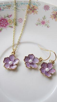 Lavender Flower Earrings, Lavender Necklace, Purple Jewelry Set, Bridesmaid Jewelry, Wedding Earrings