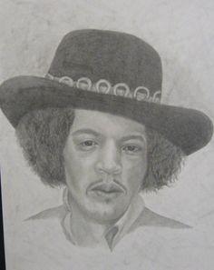Jimi Hendrix pencil drawing.