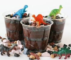 Dirt and worms dessert for dinosaur party or for a rock lover