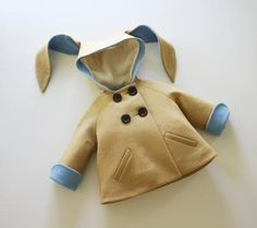 Little Goodall's lined wool coat (complete with contrast trim and long, floppy ears) inspires all kinds of warm and fuzzy feelings. #etsykids