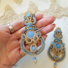 b7924e3b65 Orecchini piccolo per il 3 in 1 - lunga oro-blu orecchini, Orecchini  soutache, pendente; Unici orecchini lunghi, Orecchini Soutache ricamato a  mano