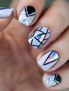 cool Holographic Foil Nail Art Design with Geometric Accents