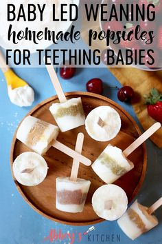 These baby led weaning homemade popsicles are made with no added sugar and provide immediate relief for teething babies, toddlers and kids. Healthy Dessert Recipes, Baby Food Recipes, Healthy Snacks, Snack Recipes, Family Recipes, Healthy Kids, Healthy Summer, Breakfast Recipes, Healthy Living