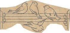 French transfer - birds on wire by Wyld_Hare, Embroidered Bird, Bird Embroidery, Embroidery Transfers, Hand Embroidery Patterns, Vintage Embroidery, Cross Stitch Embroidery, Embroidery Designs, Patch, Couture