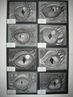 Original pinner said: grade charcoal dragon eyes. My graders look forward to this every year. Dragon Occidental, Classe D'art, 7th Grade Art, Middle School Art Projects, Ecole Art, Drawing Projects, Inspiration Art, Art Lessons Elementary, Elements Of Art