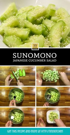 Sunomono is a quick and easy japanese cucumber salad dressed with minimal ingredients. This sweet and tangy side dish can go alongside any asian meal. Sunomono - How To Make Sunomono: A Japanese Cucumber Salad Recipe Cucumber Recipes, Healthy Salad Recipes, Healthy Snacks, Vegetarian Recipes, Healthy Eating, Cooking Recipes, Bento Recipes, Cooking Bacon, Snacks