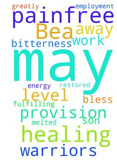 Please pray for healing for Bea, may she be painfree - Please pray for healing for Bea, may she be painfree and may any bitterness be melted away; for energy level to be restored for her son C, for work provision and fulfilling employment for both C and S In Jesus Name. Thank you. God bless you all Prayer Warriors greatly Amen. Posted at: https://prayerrequest.com/t/NvK #pray #prayer #request #prayerrequest