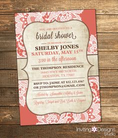 Bridal Shower Invitation, Burlap, Lace, Coral, Brown, Rustic, Chic, Vintage (PRINTABLE FILE) by InvitingDesignStudio on Etsy
