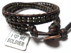 Military GIrlfriend Army or Marine Double Wrap Bracelet by JennyPennyCreations on Etsy, $30.00