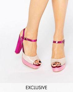 Terry de Havilland - Coco - Sandali con tacco e plateau rosa glitter