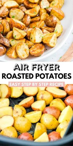 Air Fryer Roasted Potatoes are perfectly crispy on the outside and soft on the inside. Making potatoes in the Air Fryer saves time and calories! Quick Lunch Recipes, Fancy Dinner Recipes, Side Dish Recipes, Delicious Recipes, Easy Recipes, Side Dishes For Bbq, Vegetable Side Dishes, Vegetarian Appetizers, Yummy Appetizers