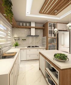 Cozinha lindíssima by Ana Marangoni (… Hello domingo! ✌☘ Cozinha lindíssima by Ana Marangoni ( Source [New] The 10 Best Home Decor (with Pictures) - Hello domingo! Cozinha lindíssima by Ana Marangoni ( What I call the kitchen is completely and c Kitchen Ceiling Design, Luxury Kitchen Design, Kitchen Room Design, Contemporary Kitchen Design, Kitchen Cabinet Design, Home Decor Kitchen, Interior Design Kitchen, Diy Kitchen, Kitchen Ideas