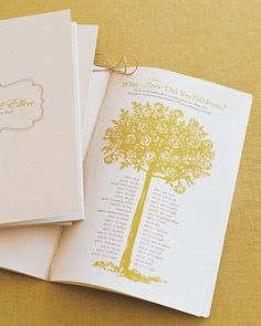 """what tree did you fall from?"" is a Celtic version of astrology...cute for a wedding program!"