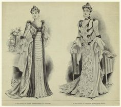 A tea-gown of satin embroidered in colours ; A tea-gown of chiffon with lace front. (1899)