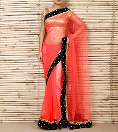 peach net saree with velvet black border and stone buttis with golden/black unstitched blouse price : 4800 rs (can b made in any colour) CALL/WHATSAPP : +91 9425052960 mail : stylemeindore@gmail.com https://www.facebook.com/StyleMee/photos/a.353815694702961.85020.352223348195529/644950288922832/?type=1&theater