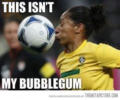 funny soccer player ball face