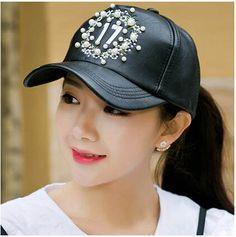 Womens pearl baseball cap for spring black pu baseball caps