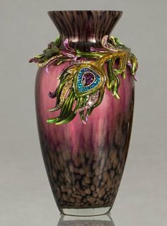 """Jay Strongwater """"Alina"""" Peacock feather vase"""