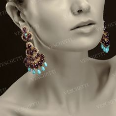 Earpendants set with amethysts, turquoise and brilliant-cut diamonds SHIVA COLLECTION
