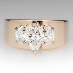 Pear+&+Marquise+Diamond+Three+Stone+Wide+Band+Ring+14K