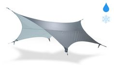 Tarp Blocks Rain, Collects Water for you to Drink