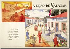 """""""A Lição de Salazar: Casa do Povo"""" (""""Salazar's Lesson: The People's House"""") Caption: """"An era of dignity of labor and social justice begins with the new corporate state. Old Scool, Social Justice, Folk, Old Things, Caption, Vintage, Poster, House, Culture"""